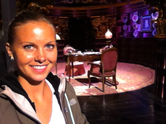 Dolores Umbridge's office! The lighting was funky .. haha